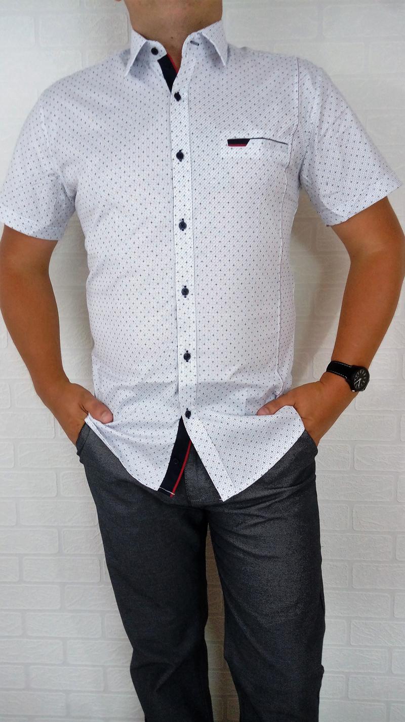 Elegancka biała koszula męska Delikatny wzorek