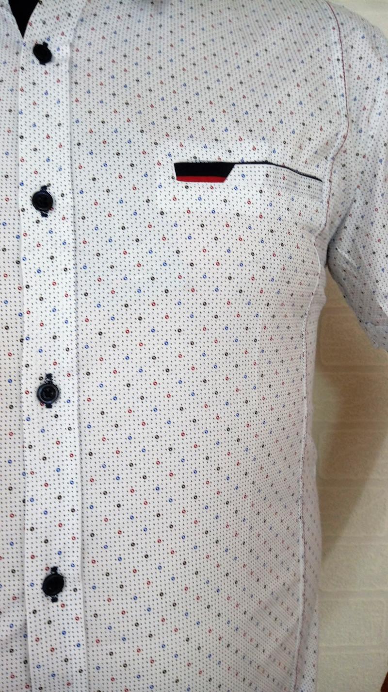Elegancka biała koszula męska Delikatny wzorek  euG8e